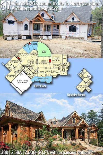Architectural Designs House Plan 15617GE under construction in North Carolina | 3BR | 2.5 BA | 1,600+ sq.ft. + bonus upstairs| Ready when you are. Where do YOU want to build? #15617GE #adhouseplans #architecturaldesigns #houseplan #architecture #newhome #...