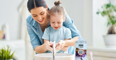 WBM International has a natural Foaming Hand Wash that kills 99.9% of germs. Using WBM Natural Foaming Hand Washes every day protects hands from germs and helps keep them hygienically clean.