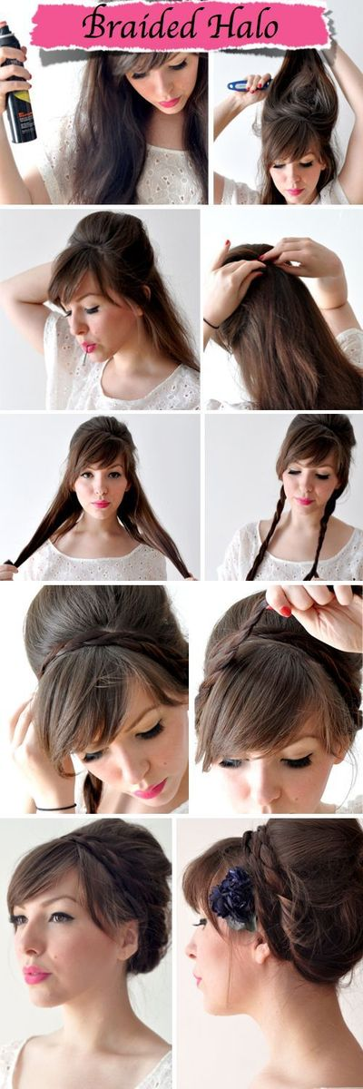 Easy Braided Halo Hairstyle - Wedding Ideas, Wedding Trends, and Wedding Galleries Also I love her bangs.