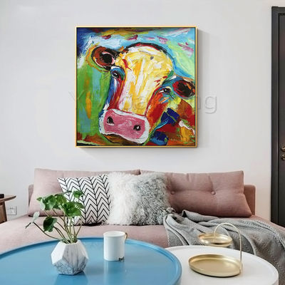 Set of 2 wall art cow painting cow portrait animal oil paintings On Canvas palette knife Original framed Wall art Pop Art Wall pictures $149.00