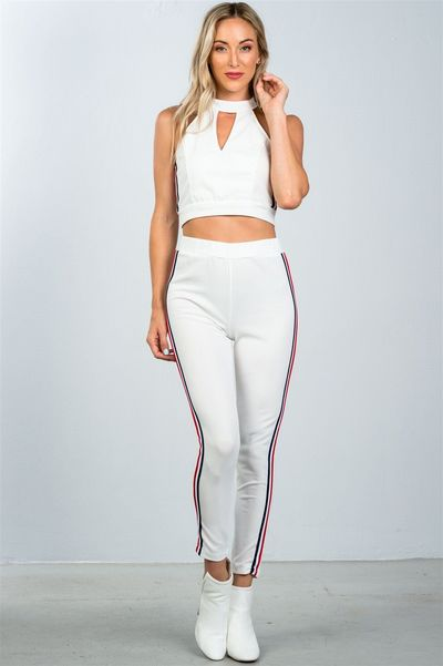 Women's casual crop top and matching pants with side contrast stripe $36.50