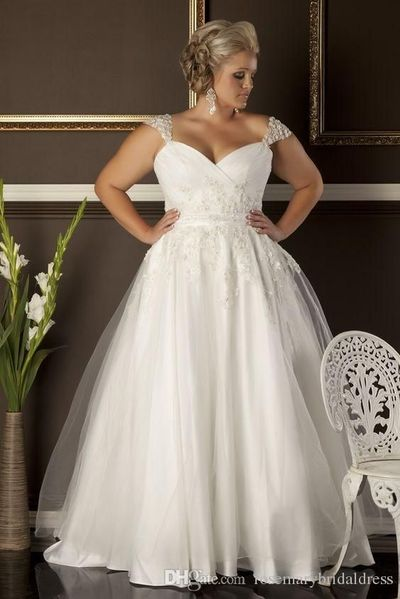 A Line Plus Size Wedding Dresses Cheap Sweetheart Neckline Cap Sleeves Lace Appliques Formal Lady Bridal Gowns One Shoulder Wedding Dress Online Wedding Dresses From Rosemarybridaldress, $123.72| Dhgate.Com