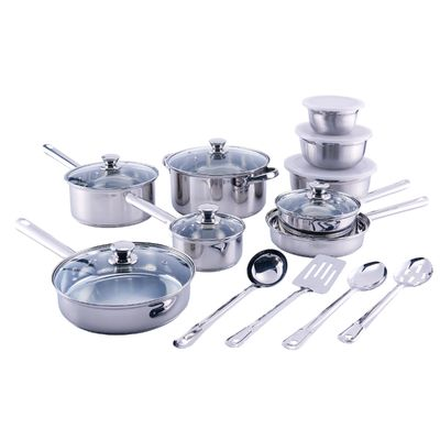 18-Piece Cookware Set, Stainless Steel $99.99