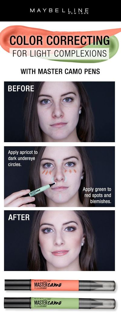 Color correcting is easier than ever with the NEW Maybelline Master Camo Pens! For color correcting on light complexions, use the 'Apricot' shade to correct dark under eye circles and the 'Green' shade to red spots and blemishes. Blend app...