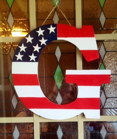Your home or apt will be a show stopper with this beautiful handmade patriotic letter on your front door. Everyone will want to know where on earth did you find