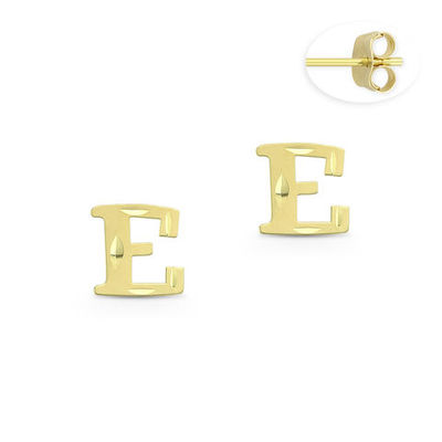 """Initial Letter """"E"""" Stud Earrings with Push-Back Posts in 14k Yellow Gold - BD-ES051E-14Y"""