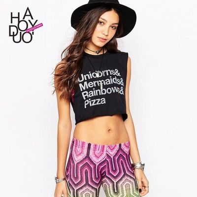 Punk Unicorn Mermaid letter printing old fashion Sleeveless Women's t-shirt - Bonny YZOZO Boutique Store