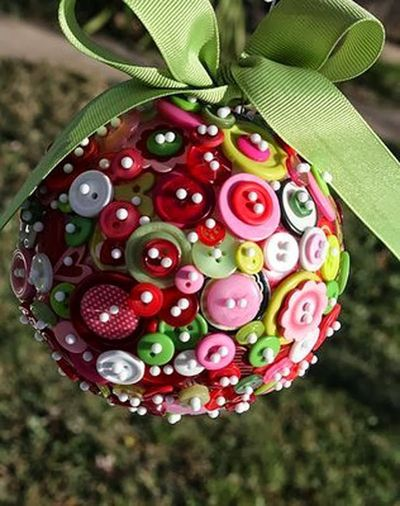 Recycled Button Ornament - Buttons, Ornament, Recycle