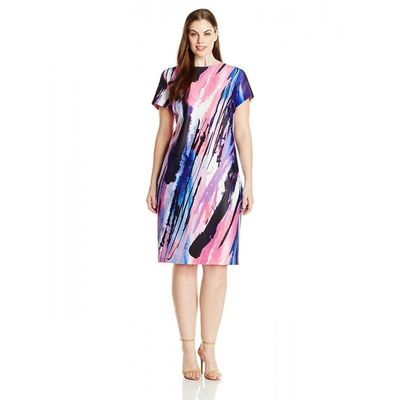 Donna Ricco - DR22137JP Paint Stroke Sheath Dress - Designer Party Dress & Formal Gown