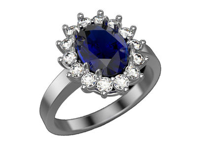 Gold Cocktail Sapphire Ring, Princess Diana Ring, Cocktail Anniversary Ring, Oval Halo Royal Ring $4178.00