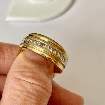 14K Yellow Gold Wedding Band with Diamonds Vintage 1960s Size 11 Men Diamond Ring for Him Bride Groom Gift Fathers Day Anniversary