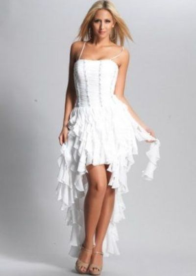 2013 White High Low Ruffled Straps Corset Prom Dress ...