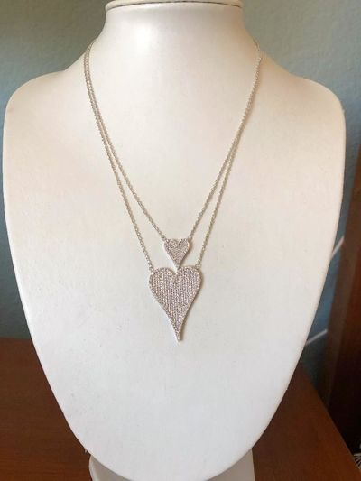 Modern French Pave Rose Gold Double Diamond Heart Necklace $72.00