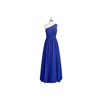 Royal blue Azazie Anastasia - One Shoulder Chiffon And Lace Side Zip Floor Length - Charming Bridesmaids Store
