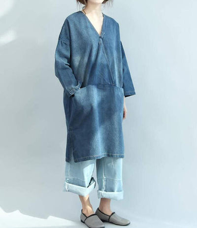 cotton Loose denim dress Women V Collar denim shirt denim shirt dress