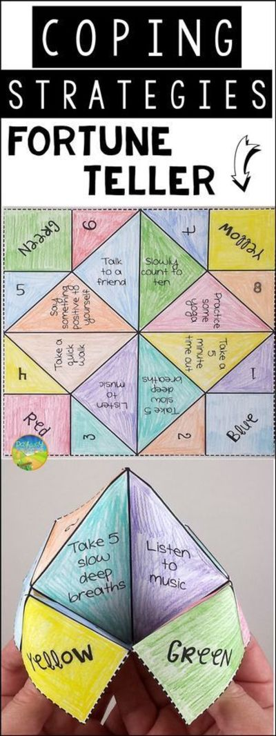 Use this paper fortune teller craft to teach and practice coping strategies for anxiety, anger, stress, depression, and other strong emotions.