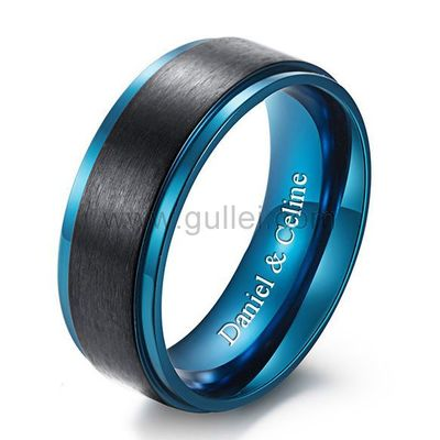 Personalized Mens Promise Ring 8mm Black Blue Titanium https://www.gullei.com/personalized-mens-promise-ring-8mm-black-blue-titanium.html