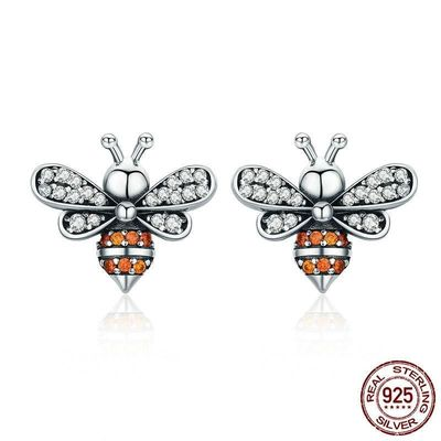 100% 925 Sterling Silver Bee Story Clear CZ Exquisite Stud Earrings for Women Fashion Silver Jewelry $28.73