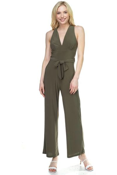 Women's Fashion Style Strapless Belted Jumpsuit $33.00