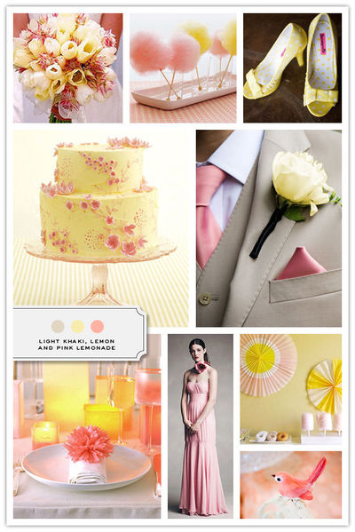 Light Khaki, Lemon, Pink Lemonade