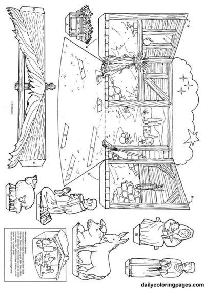 image about Printable Diorama known as No cost printable nativity diorama for Xmas coloring web pages