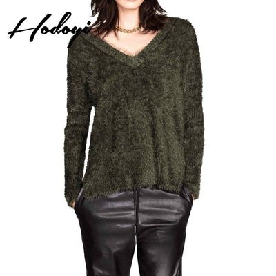 Vogue Simple V-neck Jersey One Color Fall Comfortable Casual 9/10 Sleeves Sweater - Bonny YZOZO Boutique Store