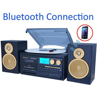 Boytone BT-28SPG 3-Speed Bluetooth Turntable System, Front Loading CD/MP3/Cassette P $149.72