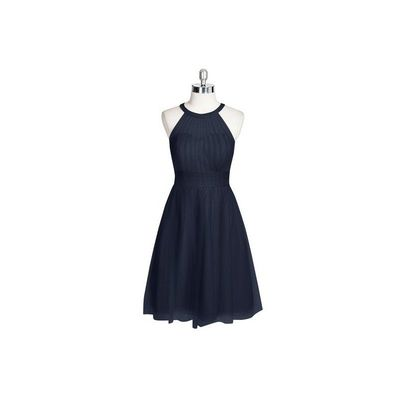 Dark navy Azazie Mackenzie - Tulle Halter Knee Length Illusion Dress - Cheap Gorgeous Bridesmaids Store