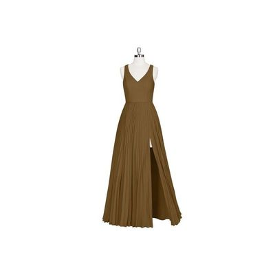 Brown Azazie Lindsey - V Neck Chiffon Floor Length Back Zip - Simple Bridesmaid Dresses & Easy Wedding Dresses