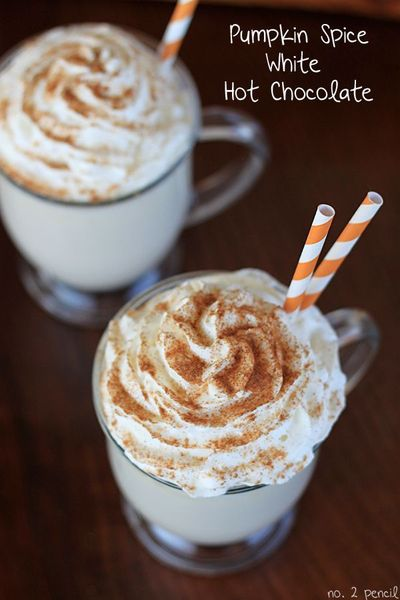 Pumpkin Spice White Hot Chocolate - The girl's would LOVE this, I plan on making it tonight