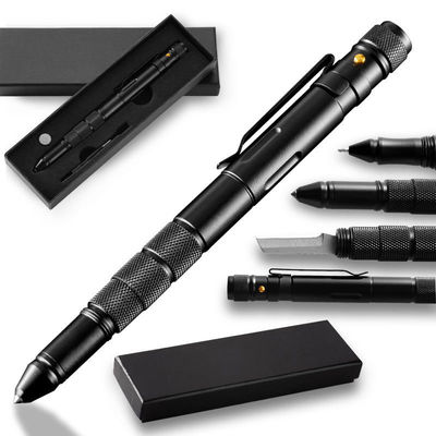 T06 Multi-functional Self Defensive Tactical Pen With Emergency LED Light Whistle Window Glass Breaker Cutter for Outdoor Survival