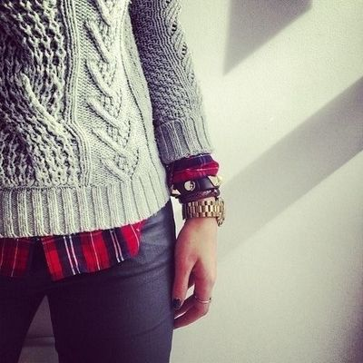 Knit sweater with flannel and leather pants