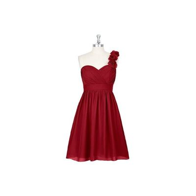 Burgundy Azazie Alyssa - Sweetheart Knee Length Chiffon Strap Detail Dress - Charming Bridesmaids Store