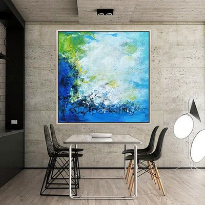 Modern abstract Blue acrylic painting on canvas Original Ocean Sea Waves Large Wall art Pictures for living room Seascape cuadros abstractos $104.75