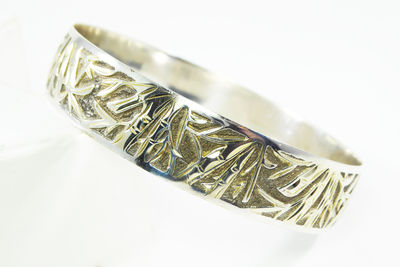 "Sterling Silver Bangle Bracelet Bamboo Design 5/8"" wide Tropical Asian Signed 925 Vintage 1970s 1980s BOHO Modern Jewelry - gift for her $145.00"