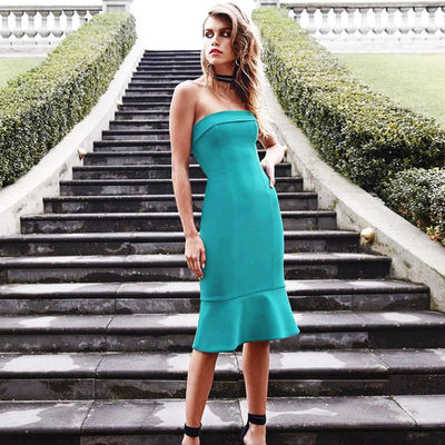 2017 New Strapless Fishtail Midi Sexy Summer Club Bandage Dress For Women