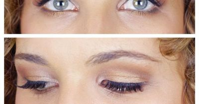 Eye brightening makeup for hooded eyes - click for the tutorial!