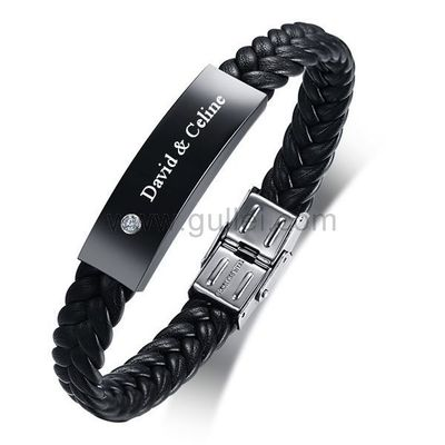 Gullei.com Personalized Leather Mens Bracelet Rhinestones Black