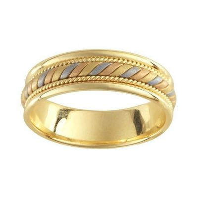 Handmade Rope & Tricolor Braided Mens Wedding Band - 14K Yellow gold 6.7mm width white yellow rose gold anniversary $399.00
