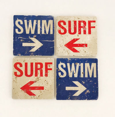 Surf Swim Natural Stone Coasters, Set of 4 with Full Cork Bottom $34.00