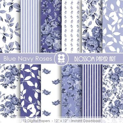 Blue Digital Paper Blue Navy Digital Paper Pack, Blue Roses, Scrapbooking, Roses, Blue Floral Papers - INSTANT DOWNLOAD