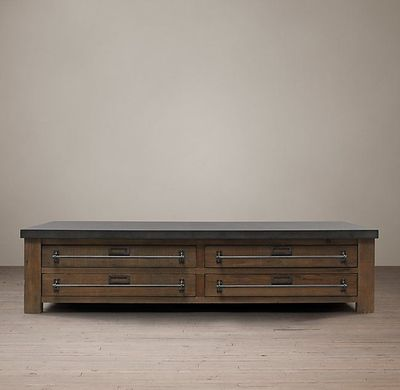 Early 20th C. Zinc-Top Mercantile Coffee Table