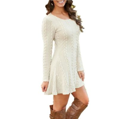 Women Causal Plus Size S-5XL Short Sweater Dress Female Autumn Winter White Long Sleeve Loose knitted Sweaters Dresses $17.01