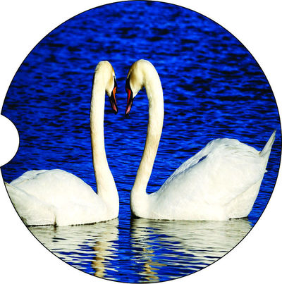 2 Absorbent Car Coasters, Swans, Car Accessories for her, Auto Coaster, Coaster, Cup Holder Coaster, Gift For Her, For Him $14.00