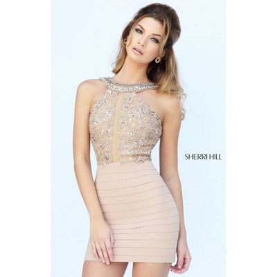 High Neck Mini Dress by Sherri Hill 32228 - Bonny Evening Dresses Online