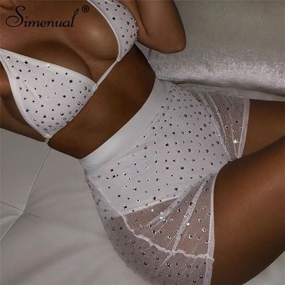 Simenual Beading Sexy Hot Women Two Piece Outfits Mesh Neon Bralette And Shorts Sets Fashion 2019 Summer Party Clubwear Set Slim $38.19