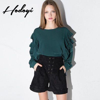 Oversized Sweet Vintage High Low Fall Frilled Blouse - Bonny YZOZO Boutique Store