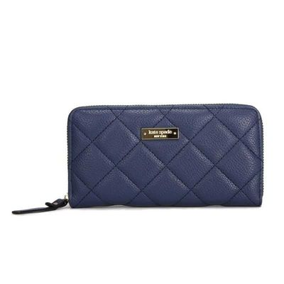 Kate Spade Lacey Gold Coast Quilted Leather Clutch Wallet Deep Blue katespadebags.com