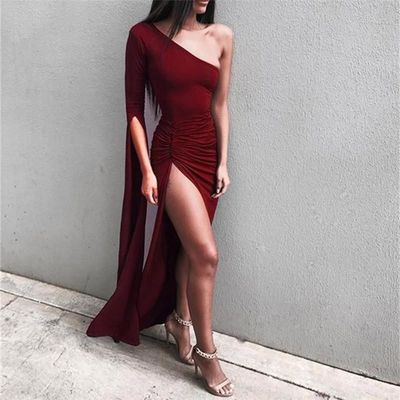 2018 Summer dress Black Women's Bodycon Long Sleeve One-Shoulder Evening Party Club Slim women Dresses vestidos $46.69