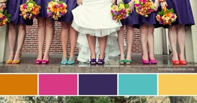 website for wedding color schemes, i think theres enough purple on thispostto get some good ideas girls! and look at the brides purple shoes.. and all the girls have something different on! so crazy!